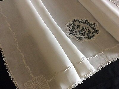 Beautiful Antique Linen Sheet Sham ~ Whitework/lace~Cherub