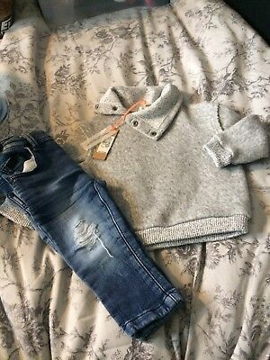 Baby Boys River Island Jumper And Next Skinny Jeans Size 9-12 Months