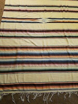 "Vintage Mexican Wool Serape blanket Rug  With Fringe 55"" x 88"""