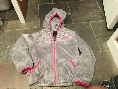 The North Face Oso  Fleece Jacket Hooded Girls Size S 7/8 Gray Pink