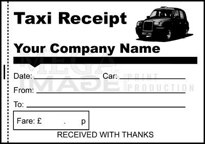 Personalised Taxi / Minicab Receipt, Printed Pads Of 100