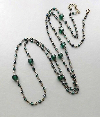 Green long Czech glass bead necklace . dark crystal flapper glam elegant jewelry