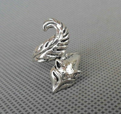 Chinese Handwork Decoration Miao Silver Carved Vivid Fox Unique Cool Men's Ring