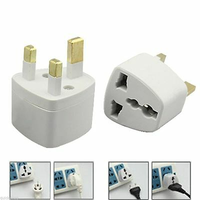 US/EU/AU/AC/DK To UK Travel Adapter Plug 250v AC 13amp WHITE
