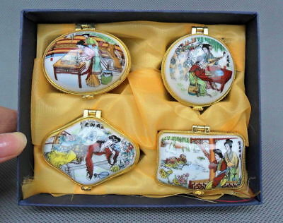 Vintage Chinese Handmade Fine Porcelain Painted Belle Noble 4 Jewelry/ Ring Boxs
