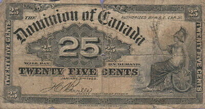 Canada-Dominion of Canada 25 Cents Banknote,1.2.1900 Good Condition Cat#9-B