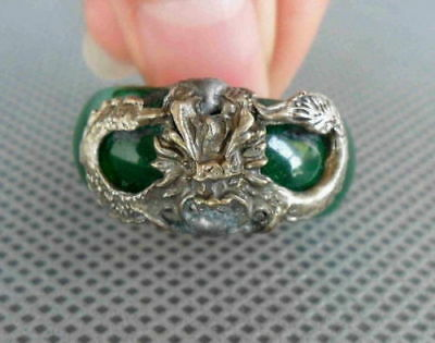 Collectible Chinese Handmade Fine Jade Armor Miao Silver Carve Dragon Noble Ring