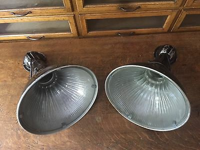 2 Pair Holophane Anglepoise Antique Industrial Sconces Light Lamp