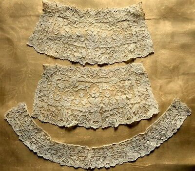 Stunning Early XIX Cen. Duchesse Lace Set Collar & Two Cuffs Exotic Floral Motif