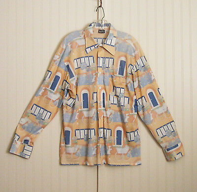 Vintage 1970s Nylon Men's Shirt Disco Long Collar XL