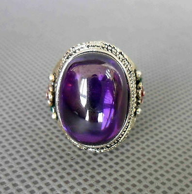 Collectible Handwork Miao Silver Inlay Amethyst Carved Flower Ring Noble Jewelry