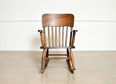Antique Childu0027s Rocking Chair Turn Of The Century Handcrafted Spindle Wood  Chair