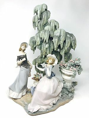 """Large Lladro Figurine 1346 Ladies """"UNDER THE WILLOW"""" 18 1/2"""" Tall / Retired 1990"""