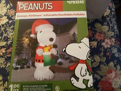 10' Giant Peanuts Snoopy Woodstock Christmas Airblown Inflatable - Charlie Brown