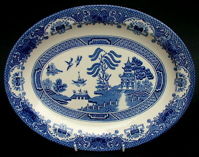 EIT English Ironstone Tableware Blue Old Willow Oval Serving Platter 29cm - VGC