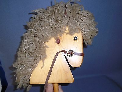 """Vintage Child's Toy Riding Stick Hobby Horse Pony Wooden Head 40"""""""