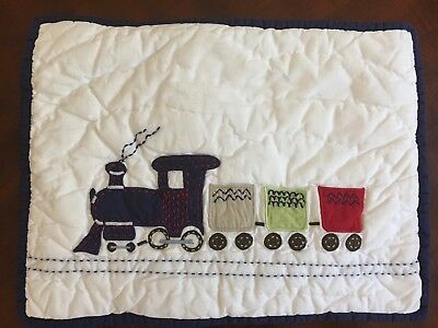 NEW Pottery Barn Kids PB Backseat Driver Train Baby Pillow Sham White Navy Red