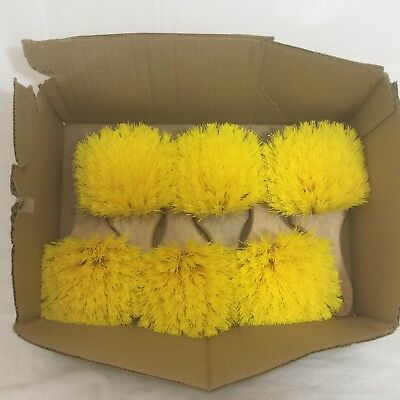 Lot of 6 Fender Utility Home Business Heavy Duty 8 1/2 Yellow Poly Scrub Brush