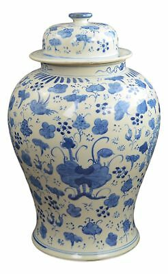 """19"""" Antique Finish Blue and White Porcelain Lotus and Flowers Temple Ceramic ..."""