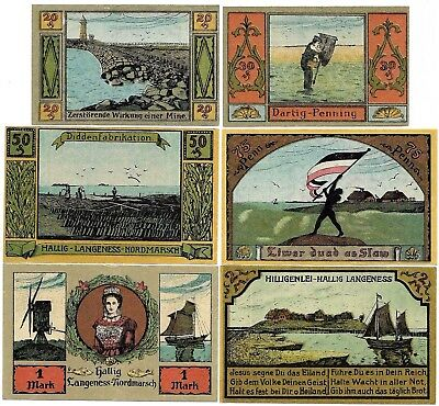 **1921 LANGENESS Germany Banknote - BRIGHT SEA ~ Complete Set German Notgeld UNC