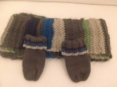 Boys scarf & Mitten Set. 2-3 Year Boy Lovely Grey Stripes