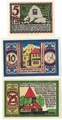 **1921 OSNABRUCK Germany- STUNNING COLORS ~ Matching Set of 3 German Notgeld UNC