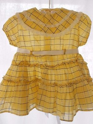 Vintage Baby Dress Yellow NOS Plaid semi-sheer  ruffles for baby or PlayPal Doll