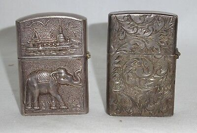 2x Vtg Silver & Sterling Silver Dressed Zippo Lighters Buddhist & Floral (Yir)