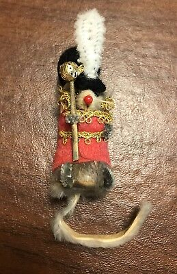 Vintage ORIGINAL FUR Animal Toy DRESSED Little MOUSE Mice label W Germany