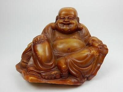 """Antique Chinese Intricately Carved Soapstone Buddha Statue 15.5"""" 75lbs"""