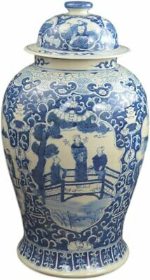 "19"" Antique Finish Blue and White Porcelain Ancient Figures Temple Ceramic Ja..."