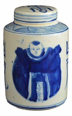 Antique Style Blue and White Porcelain Good Luck Ceramic Covered Jar Vase, Ch...
