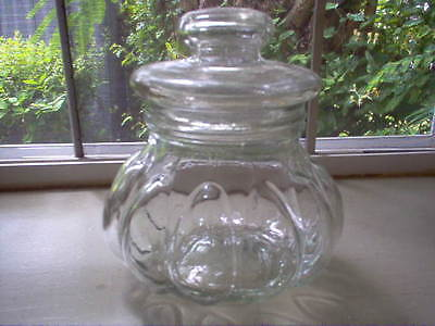 Vintage Small Slight Green Glass Apothecary/ Pumpkin Like Candy Jar/ Canister