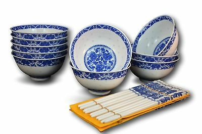 10 Pc Fine Porcelain Blue and White Rice Pattern Bowl, Bowl Set, with Free 10...