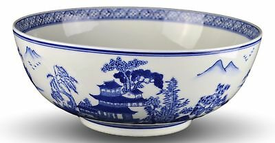 "Heritage Chinese Blue and White Landscape 12""x5"" Large Serving Bowls, Salad B..."