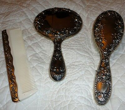 Dresden Rose Dresser Set Mirror Comb Brush Gorham Sterling Silver