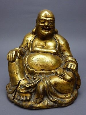 Large Chinese Intricately Carved Gilt wood  Buddha Statue  9 inches!