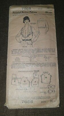 Antique Vintage Early Pictorial Review Sewing Pattern #7655 Ladies Waist Shirt