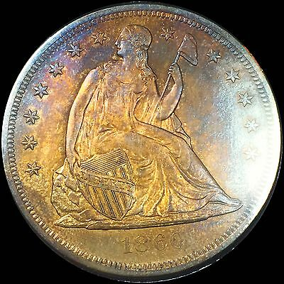 1860-O Seated Liberty DOLLAR $1 **HIGH GEM BU++ -Low mintage -Toned!!