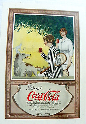 "1917 ""drink Coca-Cola"" (Women Relaxing From Tennis With Dog) Mag. Ad."