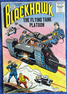 Blackhawk #106 - Quality 1956 - The Flying Tank Platoon! Great cover!