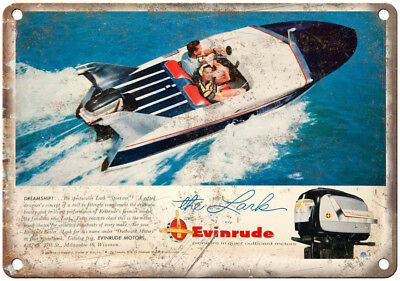 """Evinrude Outboard Motors The Lark Boating Ad 10"""" x 7"""" Reproduction Metal Sign"""