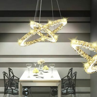 Double Ring LED Crystal Pendant Lamp Ceiling Light Bedroom Living Room Decor✓