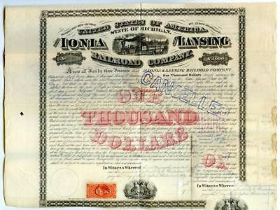 1869    $1000    Ionia & Lansing, MI.   Railroad  Bond