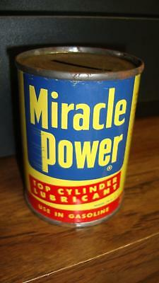 1950's Miracle Power Top Cylinder Lubricant Metal Can Bank AP Parts Co Toledo OH