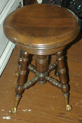Antique Wood Victorian Glass Ball Claw Foot Wood Adjustable Swivel Piano Stool