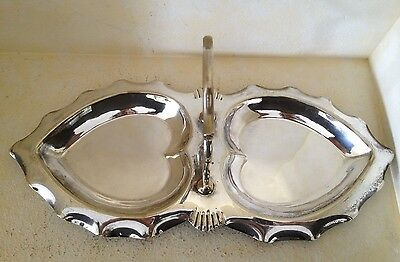 Vintage Silverplate Double Heart Candy Trinket Dish with Handle