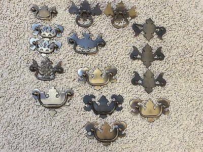 Vintage/Antique Drawer Pulls Cabinet Handles Brass Metal Lot of 15