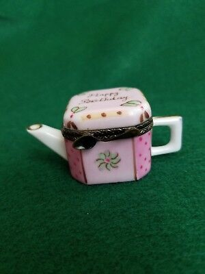 Limoges Happy Birthday Teapot Hinged Trinket Box