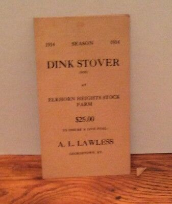 1914 Advertising Dink Stover Horse $25.00 For Live Foal
